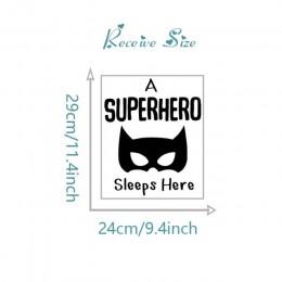 Superbohatera śpi tutaj DIY na drzwi naklejki usuwalne naklejki ścienne Art Vinyl domu dziecka chłopcy dzieci pokój sypialnia sy