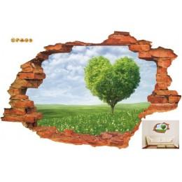 Darmowa wysyłka: 3D zepsuta ściana zachód słońca dekoracje Seascape wyspa drzewa kokosowe ozdoby do domu można usunąć naklejki ś