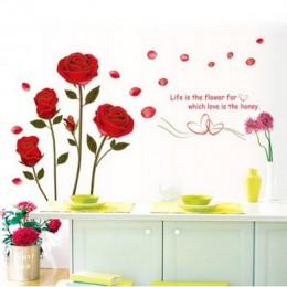 1 sztuk/partia gorąca sprzedaż 120x75cm wymienny czerwona róża życie jest kwiat naklejka ścienna z cytatem Mural dla DIY naklejk