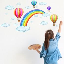 Tęcza w stylu kreskówki chmura gorącego powietrza ściana z balonami naklejki dla dzieci pokoje dla dzieci dekoracje dekoracyjne