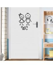 Cartoon mężczyźni i kobiety WC naklejka ścienna do dekoracja łazienki vinyl home naklejki wodoodporne plakat naklejki na drzwi z