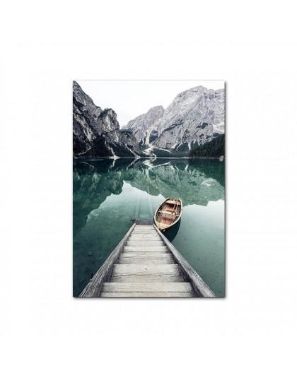 Górskie jezioro odbicie obraz natura dekoracje skandynawski plakat dekoracja nordycka nadruk krajobrazu obraz ścienny na płótnie