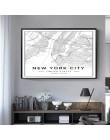 Skandynawska minimalistyczna znana na całym świecie mapa miasta obrazy na płótnie Berlin Oslo plakat obrazy na ścianę do salonu
