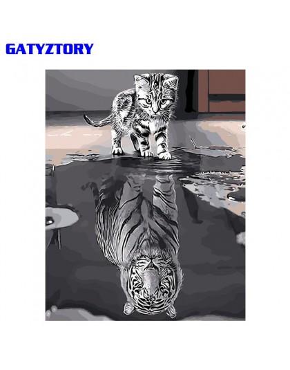 GATYZTORY Odbicie Kot zrób to sam Malowanie numerami Akrylowa farba na płótnie Nowoczesna grafika ścienna Kolorowanie obrazu wed