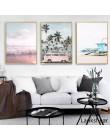 Ocean płótno z krajobrazem plakat styl skandynawski plaża różowy autobus ściana drukowany obraz malarstwo dekoracja obraz skandy