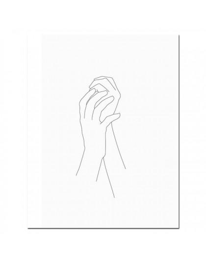 Szkic ścienny linia artystyczna rysunek drukuj minimalistyczny prosty moda plakat na płótnie czarny biały obraz cytat miłosny de