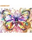 CHENISTORY Frame Butterfly ręcznie malowany obrazek według numerów kolorowe farby według numerów Wall Art obraz kolorowanie wedł
