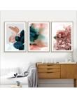 Nowoczesny abstrakcyjny różowy kwiat zielone rośliny plakat wydruk płótna malarstwo zdjęcia dekoracja ścienna do domu można dost