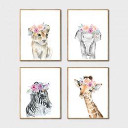 Zwierzęta korona kwiatowa dekoracja na płótnie malarstwo, dziewczynka drukuje zwierząt żyrafa słoń ściana z lwem obraz sztuki pl