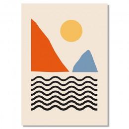 Geometryczne abstrakcyjne scena skandynawia na płótnie malarstwo ścienne reprodukcje plakat obraz do galeria salon wnętrz Home D