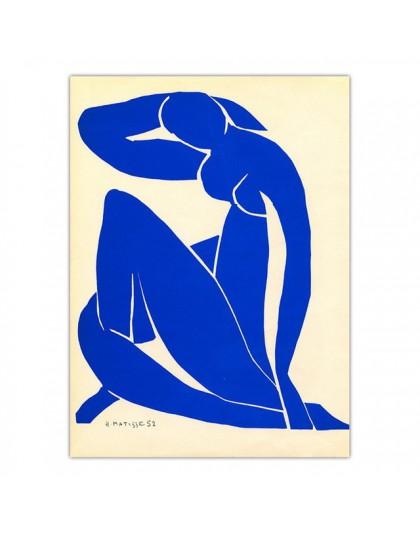 Abstrakcyjne płótna dekoracyjne do domu artystyczny obraz francuski Henri Matisse niebieski Nude plakaty Hd drukuj obraz ścienny