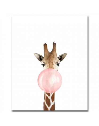 Żyrafa Zebra zwierząt plakaty i druki płótno artystyczny obraz Wall Art obraz dekoracyjny przedszkola styl skandynawski dekoracj