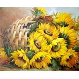 RUOPOTY ramka kwiaty ręcznie malowany obrazek według numerów zestaw słoneczniki Modern Home Wall Art obraz według numerów do dek
