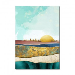 Plakat skandynawski wschód słońca zachód słońca grafika z krajobrazem płótno artystyczne malarstwo dekoracja ścienna zdjęcia do