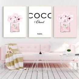 Perfumy moda płótno wydruki artystyczne i plakat nowoczesne akwarela Blush różowe piwonie obrazy dekoracje ścienne wystrój salon