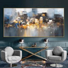 Budynek miasta deszcz łódź plakat obrazy z krajobrazami dekoracja pokoju abstrakcyjny obraz olejny na płótnie Wall Art do salonu