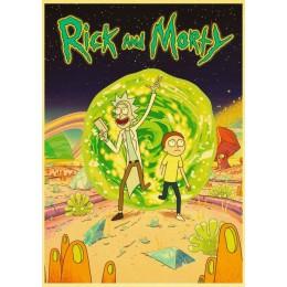 Cartoon plakat rick i morty retro plakaty papier pakowy wysokiej jakości malowanie na wystrój domu naklejki ścienne