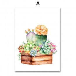 Kaktus sukulenta obraz na płótnie plakat skandynawski wydruki artystyczne akwarelowe obrazy na ścianę na wystrój salonu Unframed