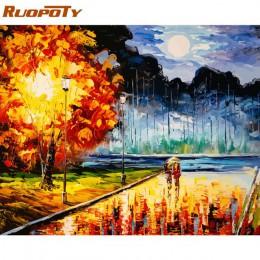 RUOPOTY ramka ręcznie malowany obrazek według numerów krajobraz górskie jezioro farba akrylowa na płótnie ręcznie malowany olejn