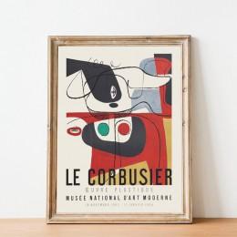 Le Corbusier wystawa plakat 1954 francuskie muzeum sztuki drukuj kubizm styl Mid Century nowoczesny obraz ścienny na płótnie wys