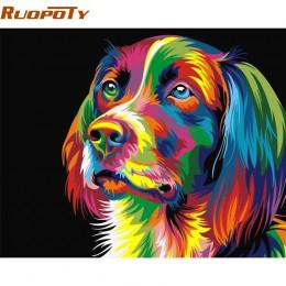 RUOPOTY zrób to sam ramki Kolorowe Dog zrób to sam Painting By Numbers Zestawy akrylowe Ręcznie malowany obraz olejny Na Home De