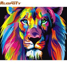 RUOPOTY Rama Kolorowe Lwy Zwierzęta zrób to sam Painting By Numbers Nowoczesne Ręcznie malowany obraz olejny wyjątkowy prezent D
