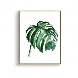 CLSTROSE nowoczesny zielony liście tropikalnej rośliny na płótnie nadrukowany plakat artystyczny skandynawski zielony ściana roś