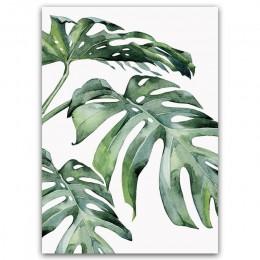 Akwarela roślin zielonych liści obraz na płótnie drukowany plakat nowoczesna ściana minimalistyczna sypialnia salon dekoracji