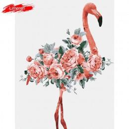 Obrazy olejne według liczb kwiat farba akrylowa malowanie ścian obraz kolorowanie Flamingo według liczb, na płótnie Home Decor