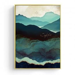 Nordic abstrakcyjna dekoracja na ścianę geometryczny wieloryb krajobraz górski obraz na płótnie plakaty i druki obraz ścienny do