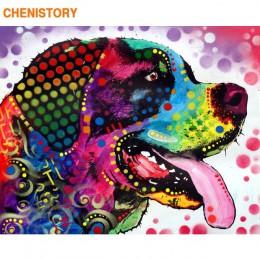 CHENISTORY bezramowe zwierzęta ręcznie malowany obrazek według numerów kolorowa farba akrylowa na płótnie unikalny prezent do de
