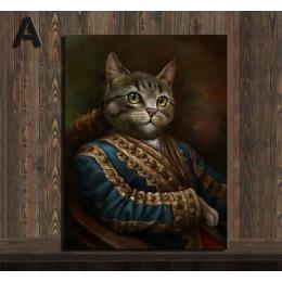 Spersonalizowana personalizacja zwierząt domowych styl Vintage zwierzęta obraz na płótnie Hd drukuj śliczne ubrane plakaty dla z