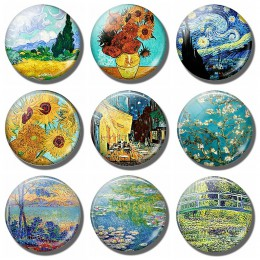 Van Gogh gwiaździstej nocy słoneczniki sztuka pamiątka lodówka magnes wystrój krajobraz szkło kryształowe Cabochon naklejki na l
