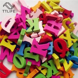 100 sztuk Diy rzemiosło dzieci puzzle zabawki edukacyjne drewniany alfabet zabawki Scrabble litery kolorowe dekoracyjne litery n