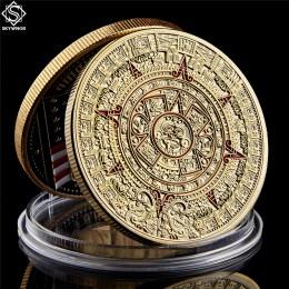 """Meksyk majów azteków kalendarz sztuka proroctwo kultura 1.57 """"* 0.12"""" złote monety kolekcje"""