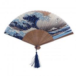 Jedwabny wentylator ręczny Fuji Kanagawa Waves japoński składany wentylator podręczny wiatrak akcesoria ślubne dekoracje prezent