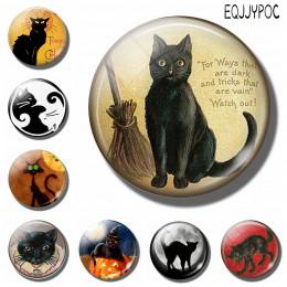 Miłośnicy kotów 30MM lodówka magnes czarny kot z miotłą czarownica szkło z cytatem Cabochon magnetyczna naklejka na lodówkę poje