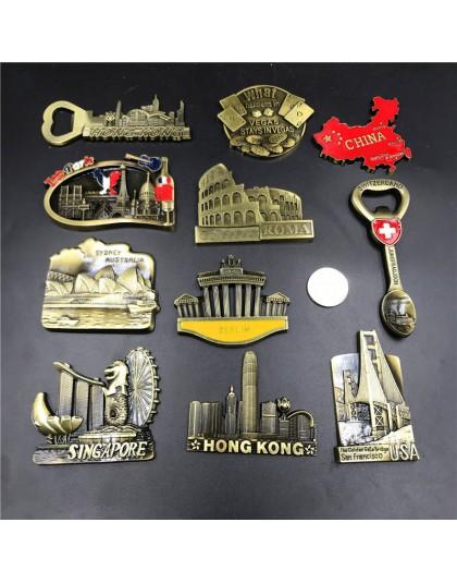 Stany zjednoczone golden gate bridge Berlin szwajcaria singapur Australia Sydney włochy Paris Las Vegas chiny mapa lodówka pamią