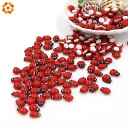 Mini 1 paczka  100 sztuk/partia Red drewniane biedronka gąbka samoprzylepne naklejki samoprzylepne Cute Baby lodówka magnesy do