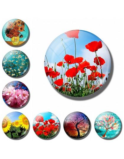 Sztuka malowanie na szkle okrągły retro kwiat wzór drukuj naklejka na lodówkę lodówka magnes drzewo życia kwiat maku wiadomość u