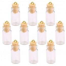 10 Pcs miniaturowe szklane butelki małe fiolek korka miniaturowe przezroczyste szklane słoiki wielu wykorzystanie korka korek ch