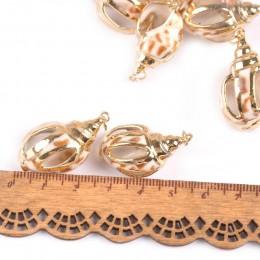 Mix naturalna muszla pozłacane rzemiosło ręcznie robione ozdoby do wisiorek muszle DIY biżuteria dekoracji wnętrz 5 sztuk 20-40m
