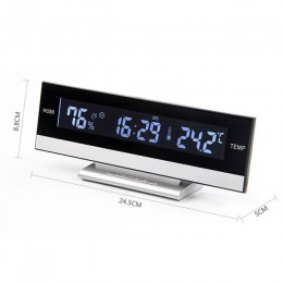 Elektroniczny budzik z wyświetlaczem LED godzina wilgotność powietrza temperatura na baterię kabel USB