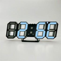 Cyfrowa ściana zegar 3D budzik LED elektroniczne zegary biurkowe z dużym wyświetlaczem temperatury 12/24 godzin