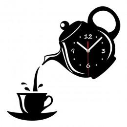 Kreatywny DIY akrylowe filiżanka kawy czajniczek 3D zegar ścienny dekoracyjne kuchnia zegary ścienne salon jadalnia Home Decor z