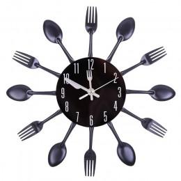 31-41cm ze stali nierdzewnej łyżka kuchenna widelec zegar ścienny cichy, ścienny zegar wystrój salonu styl śródziemnomorski deko