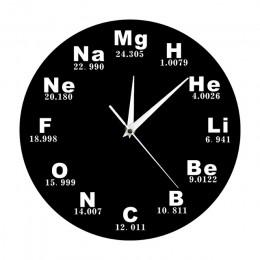 Okresowy układ pierwiastków Wall Art symbole chemiczne zegar ścienny wyświetlacz edukacyjny ElementaL Classroom Clock prezent na