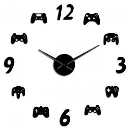 Gra wideo kontrolery DIY duży zegar ścienny gra wystrój pokoju nowoczesny Design Freamless Giant zegar ścienny gra pokój dla chł
