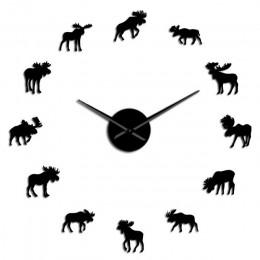 Wildlife Moose DIY Giant zegar ścienny łoś sylwetka dekoracyjne bezramowe zegar ścienny nowoczesny charakter zwierząt Wall Art p