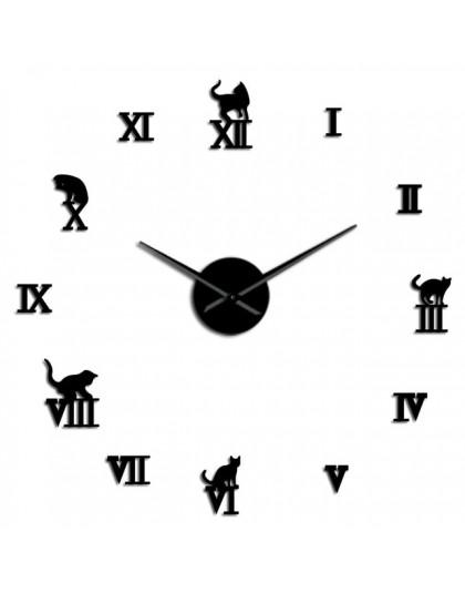 3D duży zegar ścienny DIY duży nowoczesny bez ramy Home Decor kot duży zegar lustro do sypialni salon kocięta Kitty dekoracje śc